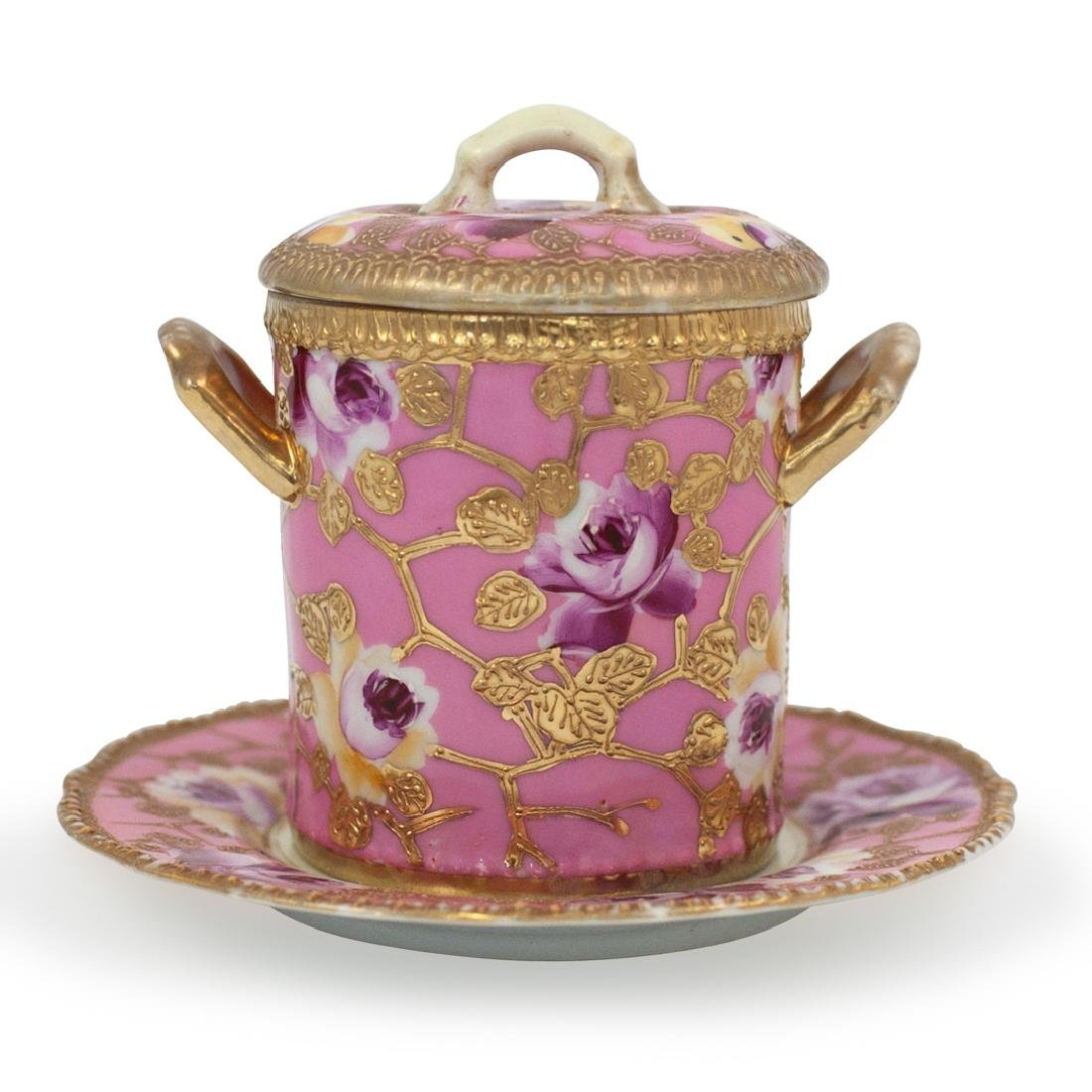 (2 Pc) Nippon Pink Hand Painted Tea Caddy
