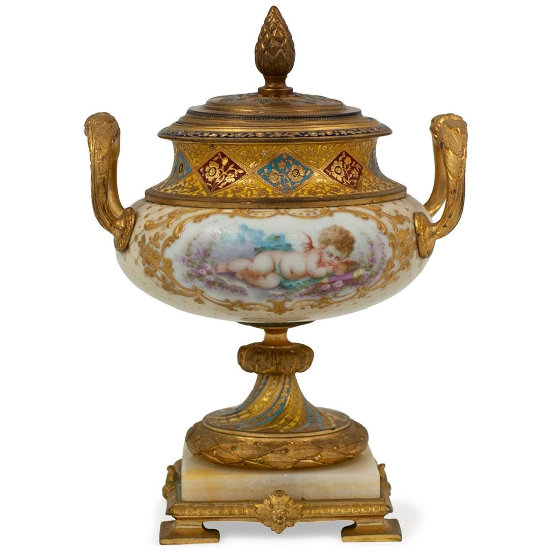 Antique French Gilt and Porcelain Lidded Urn