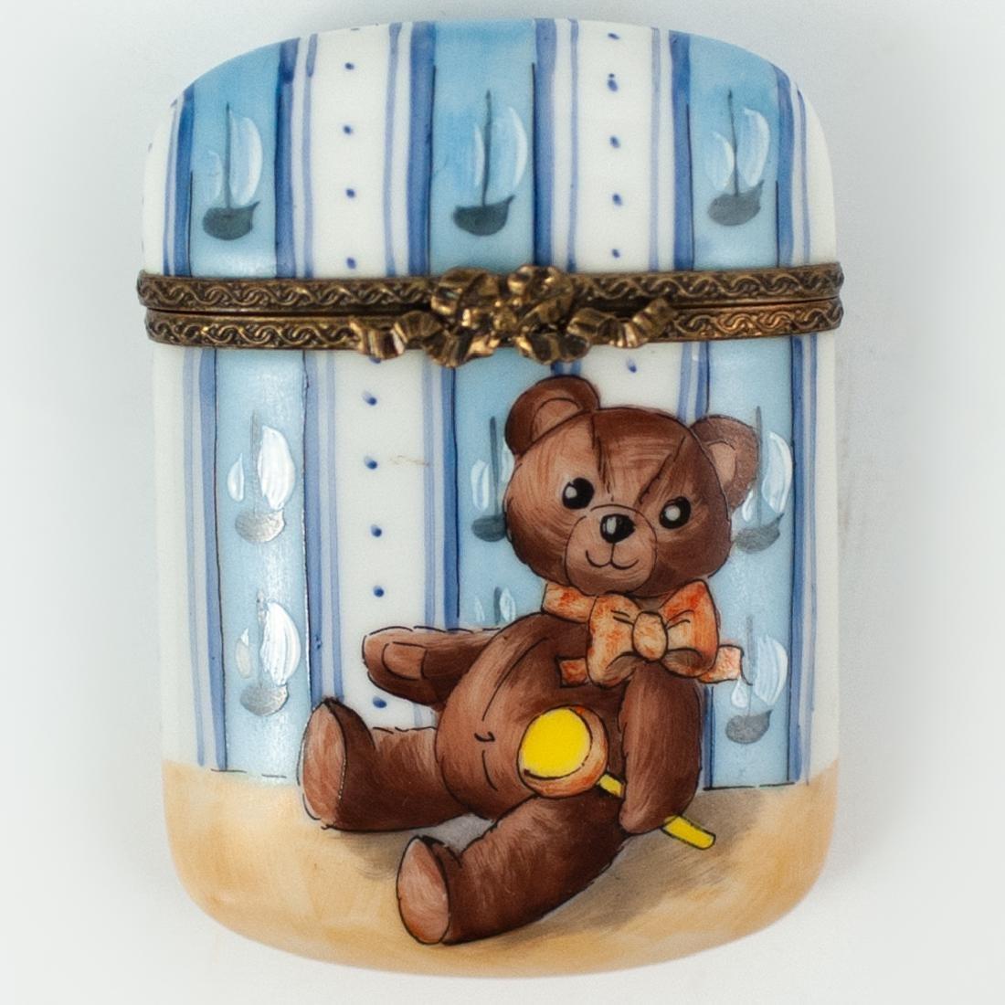 Limoges Porcelain Teddy Bear Pill Box