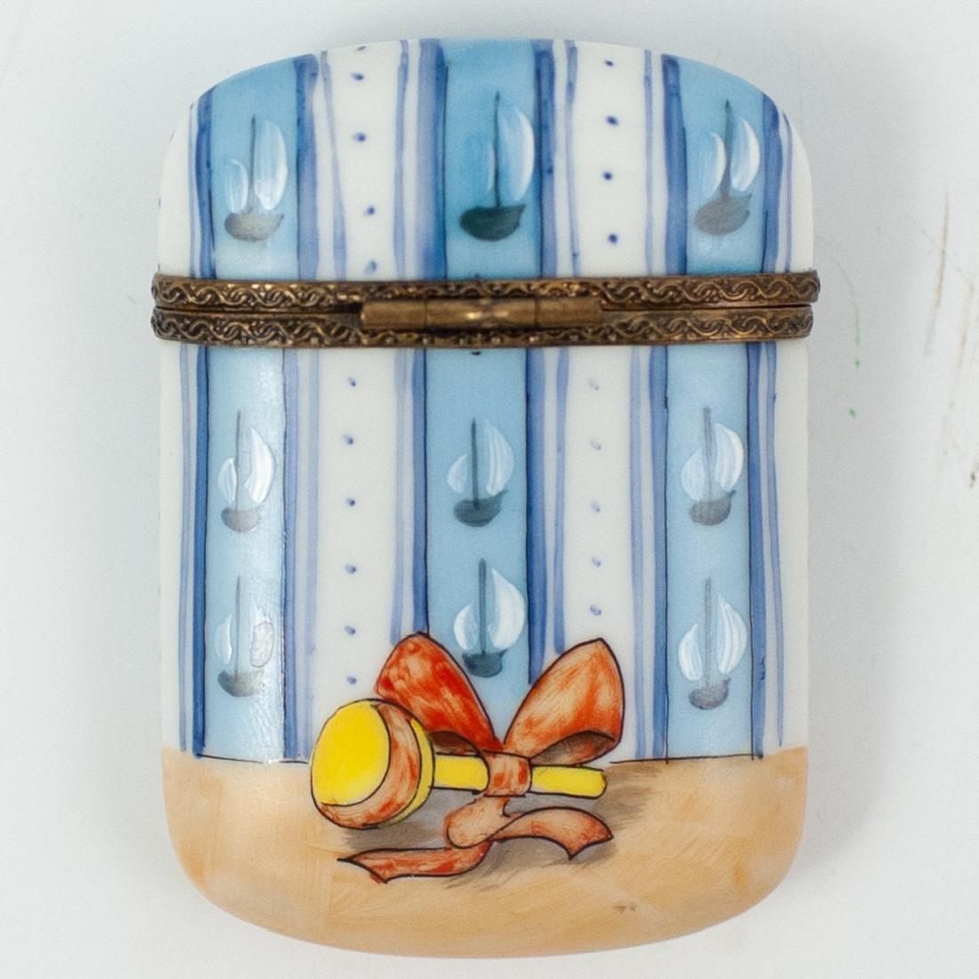 Limoges Porcelain Teddy Bear Pill Box - 2