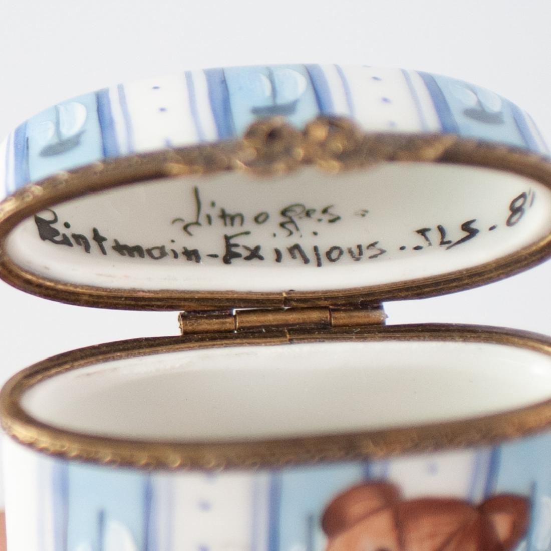 Limoges Porcelain Teddy Bear Pill Box - 3
