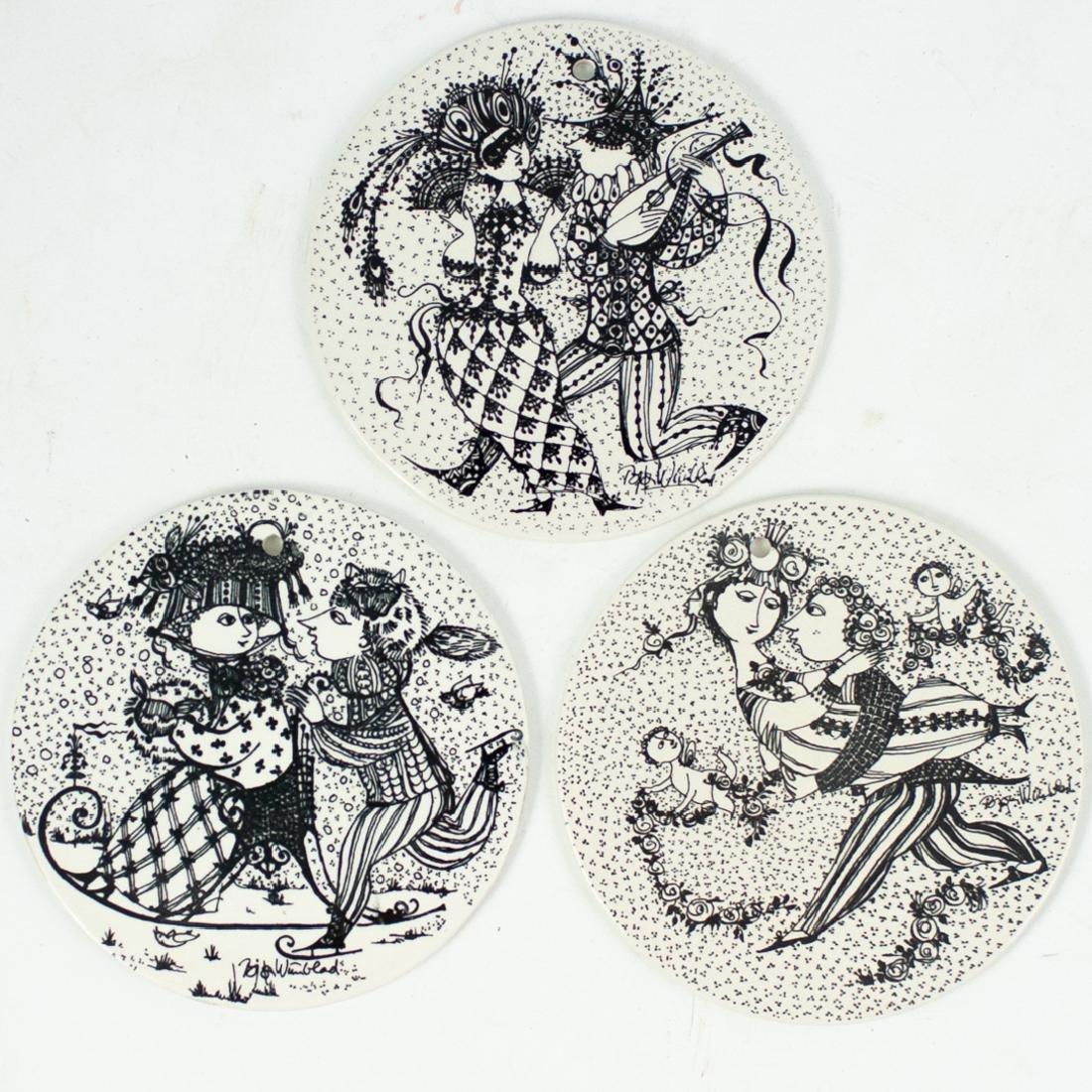(3 Pc) Bjorn Wiinblad Porcelain Plaques