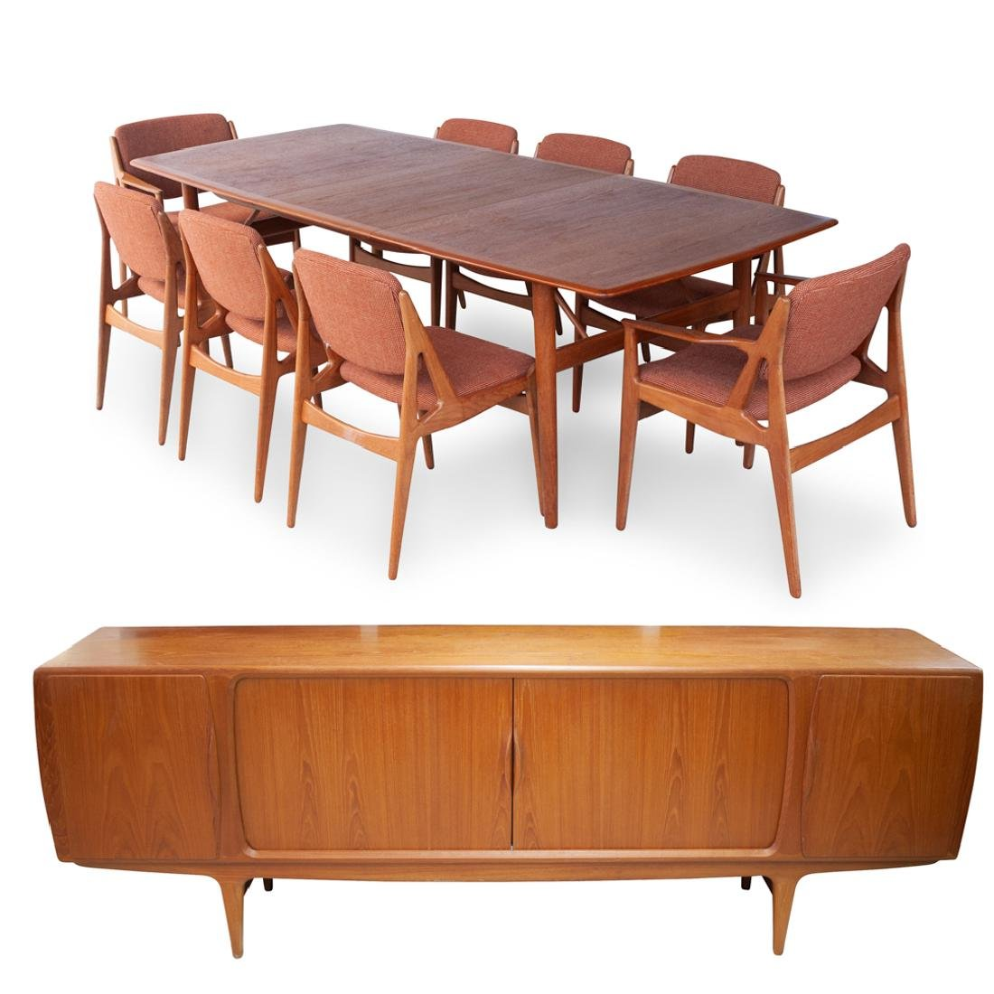(10 Pc) Danish Teak Dining Table, Arm Chairs and