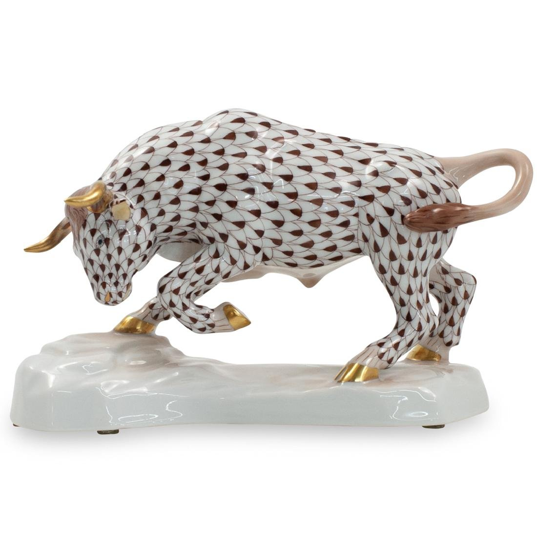 Herend Porcelain Bull Figurine