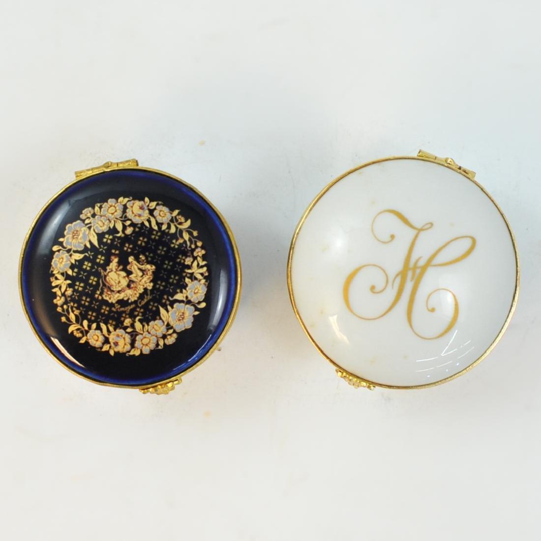 (2 Pc) Limoges Porcelain Round Boxes - 2