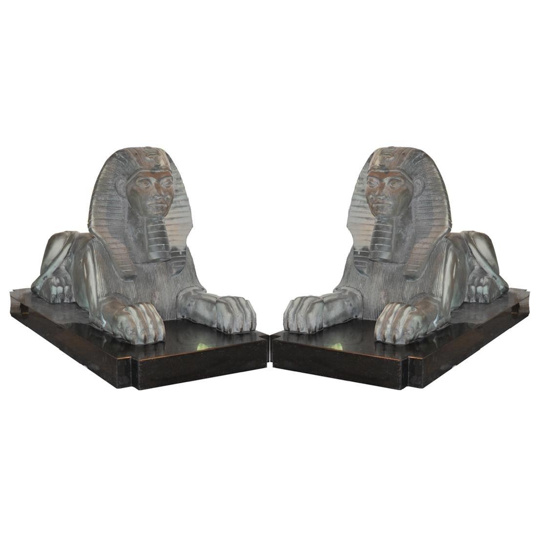 Pair of Emil Epple (German, 1877-1955) Cast Iron Sphinx