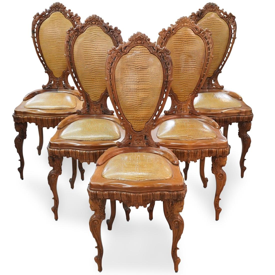 (5 Pc) Rococo Revival Carved Olive Wood Chairs