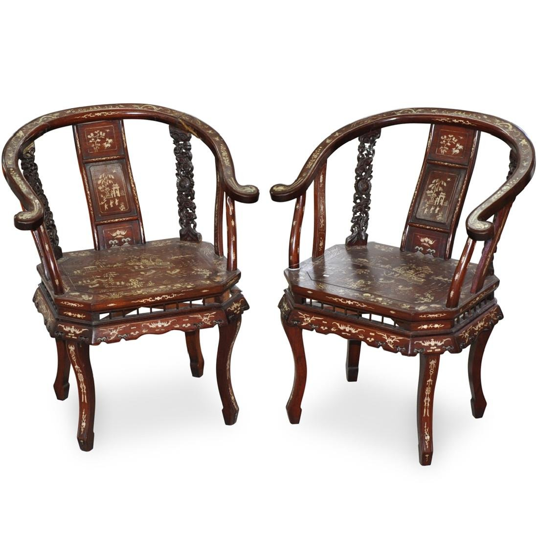 Pair of Chinese Carved Hardwood and Bone Inlay