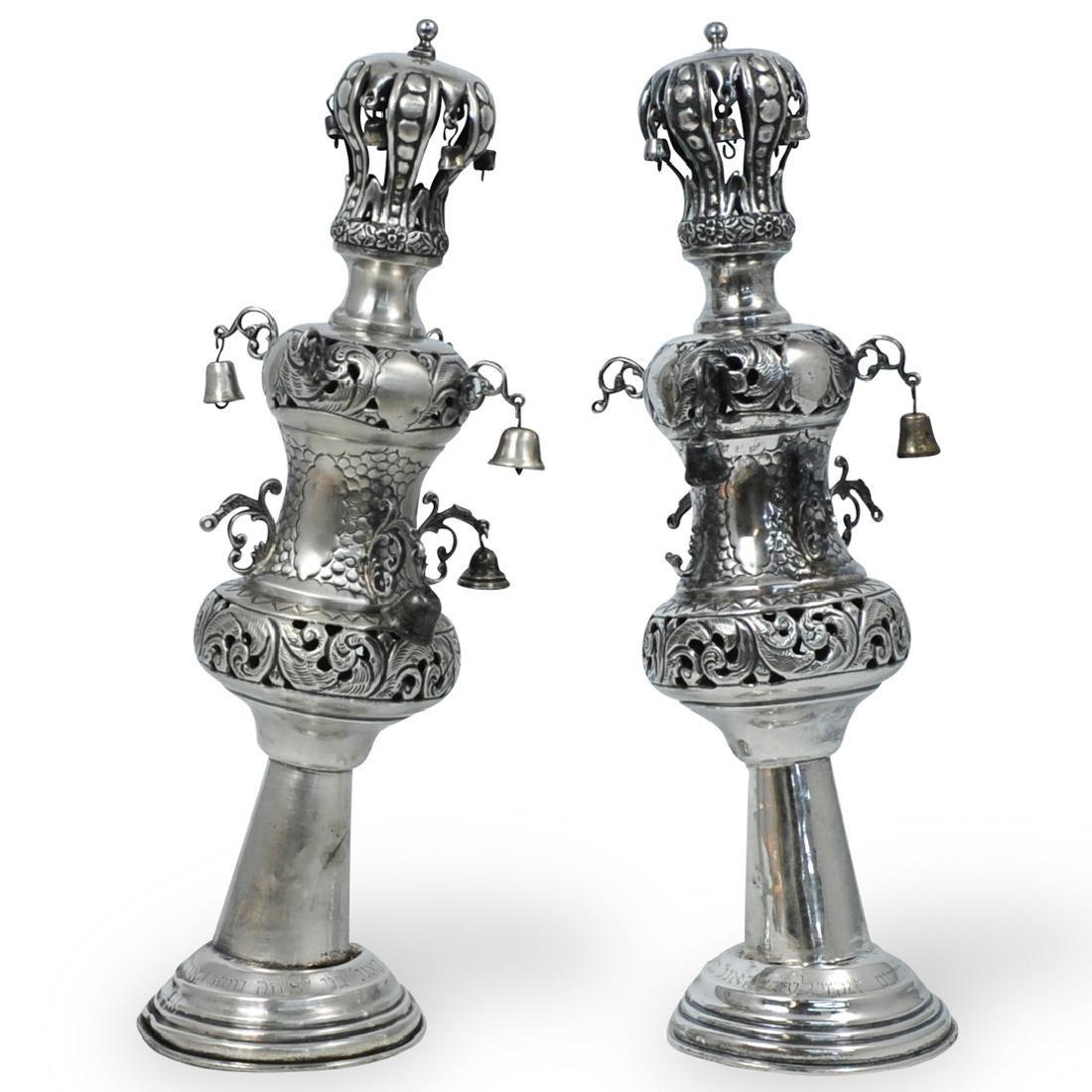 Pair of Judaic Sterling Silver Torah Crowns