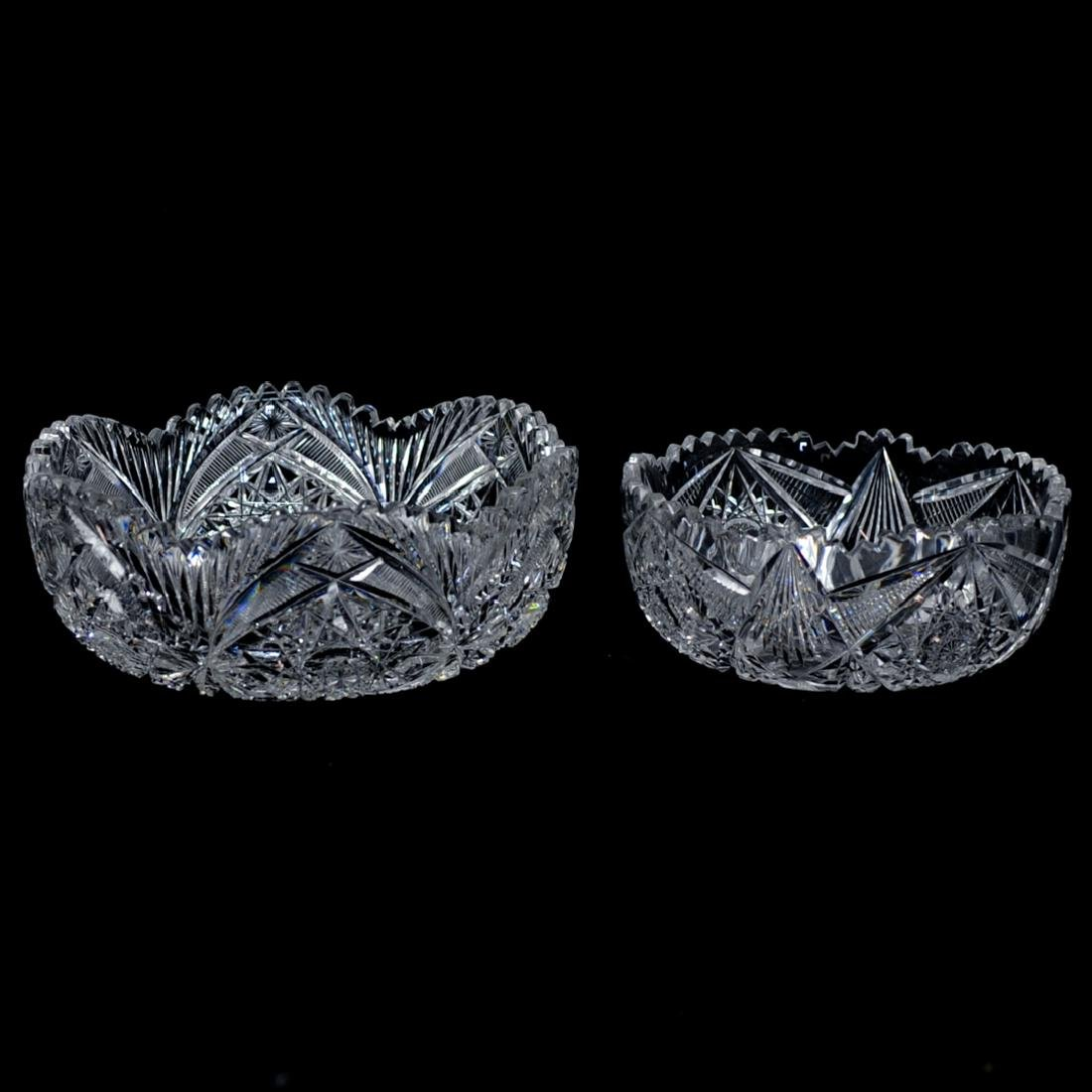 (2 Pc) Vintage American Brilliant Cut Glass Bowls