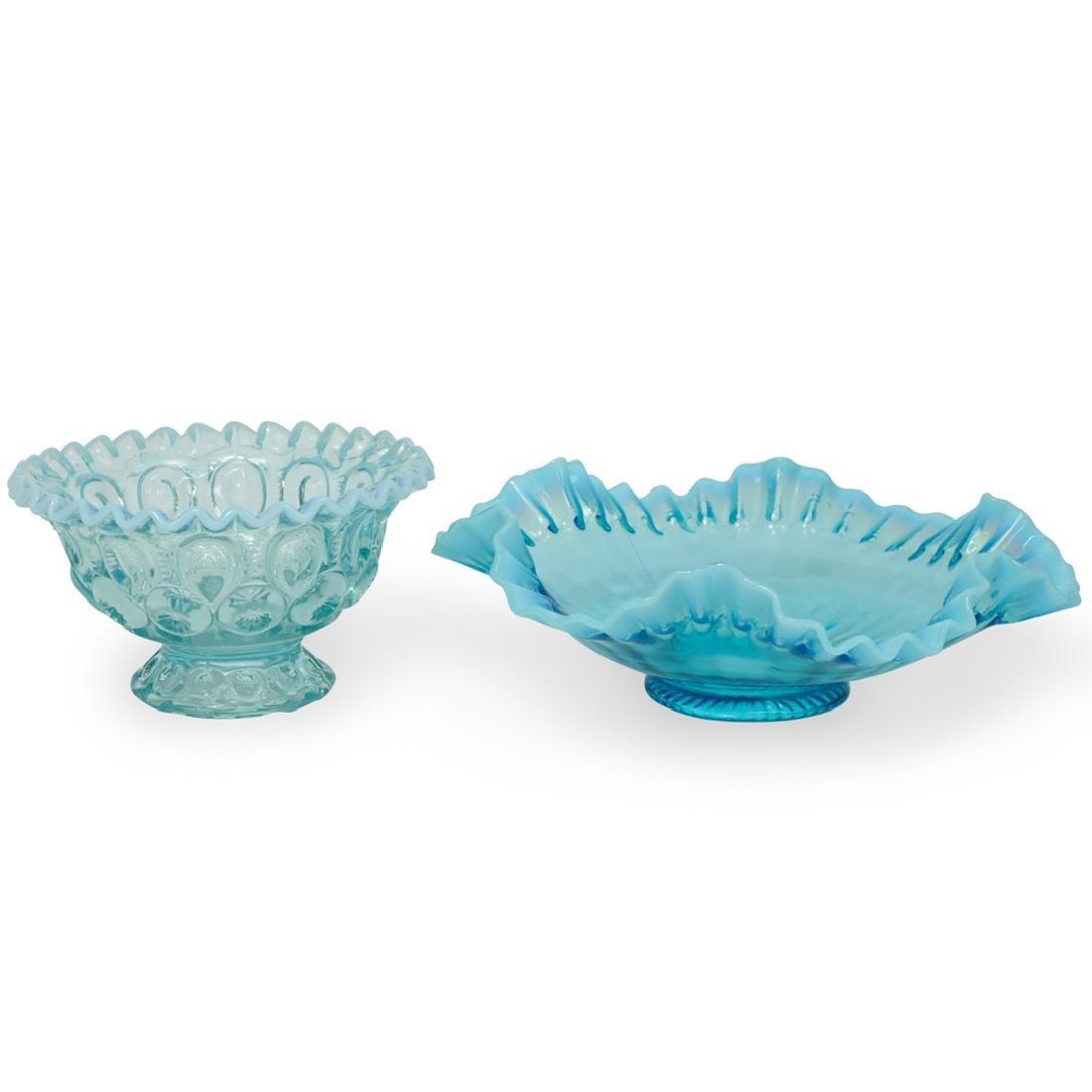 (2 Pc) Blue Art Glass Bowls