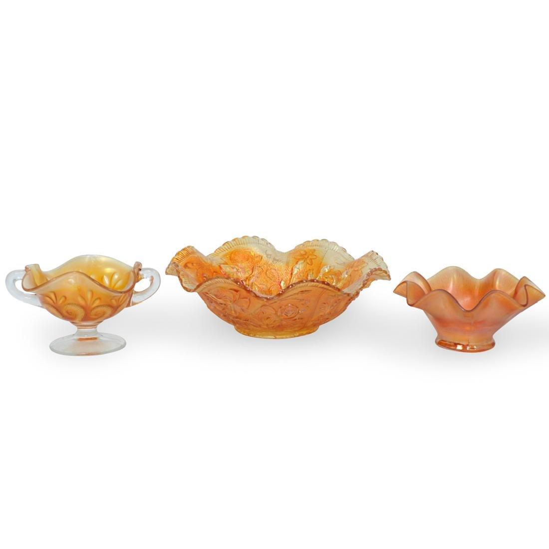 (3 Pc) Vintage Orange Carnival Glass