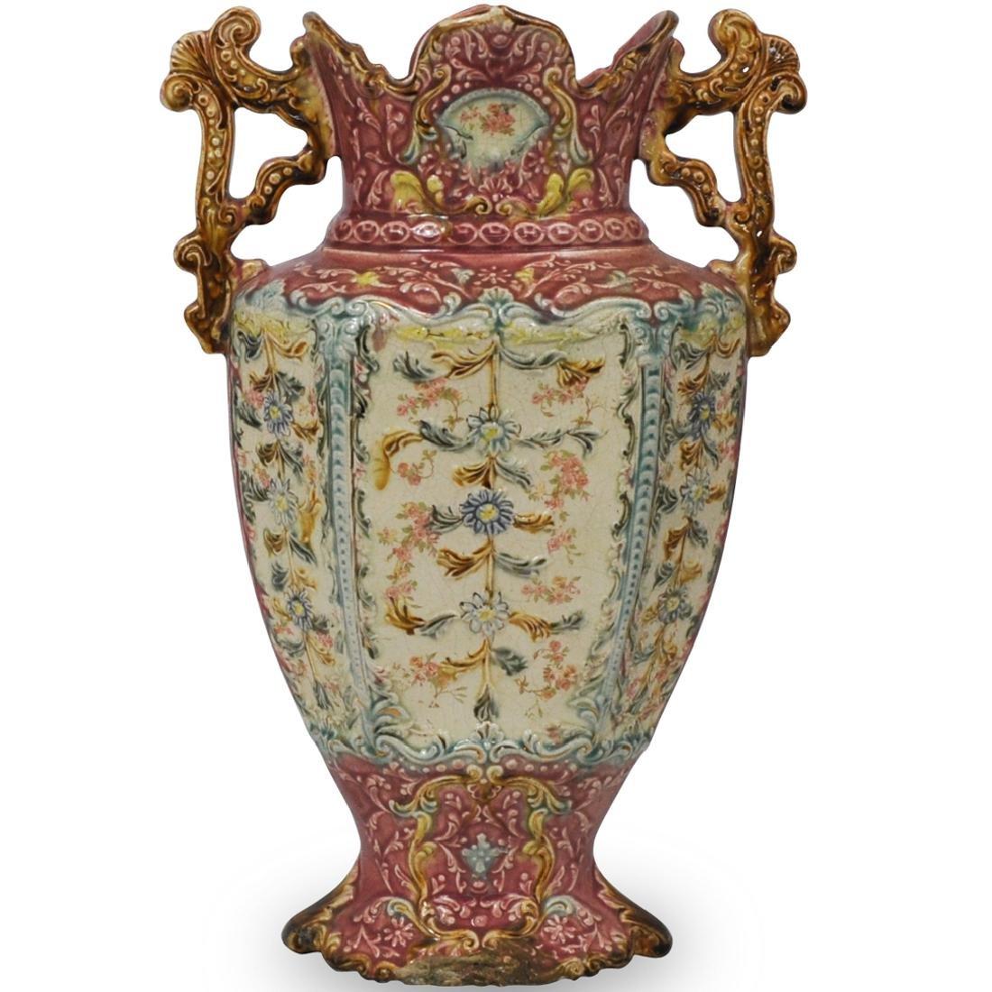 Majolica Decorated Pink Vase