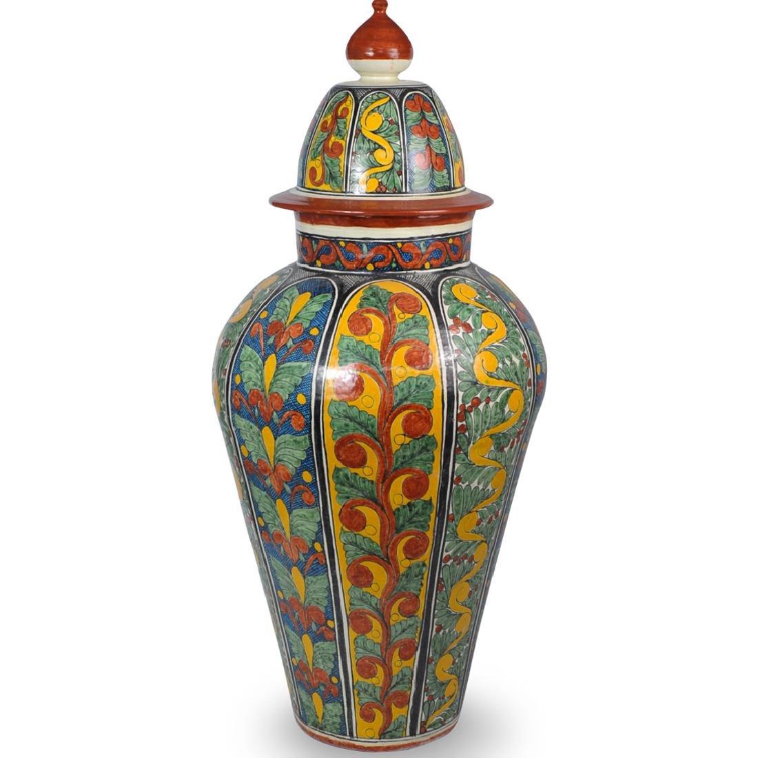 Large Italian Majolica Covered Urn