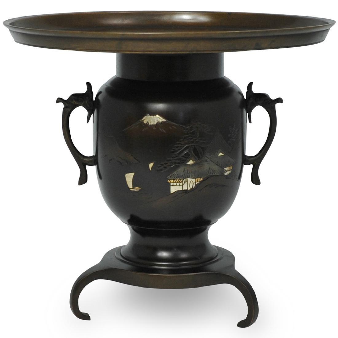 Japanese Bronze Ikebana Usubata Vase