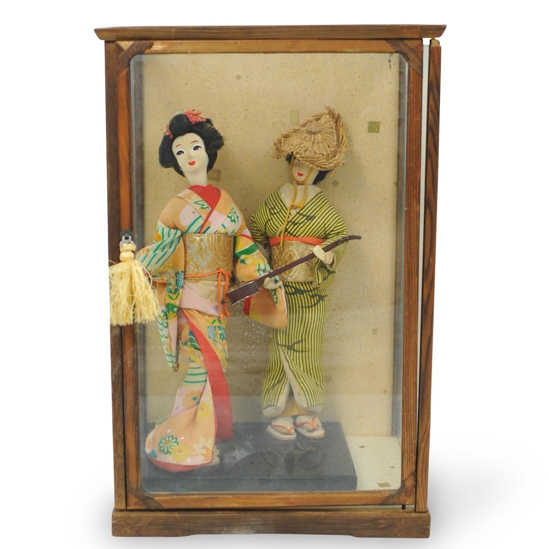 Japanese Kabuki Dolls in Glass Display Case