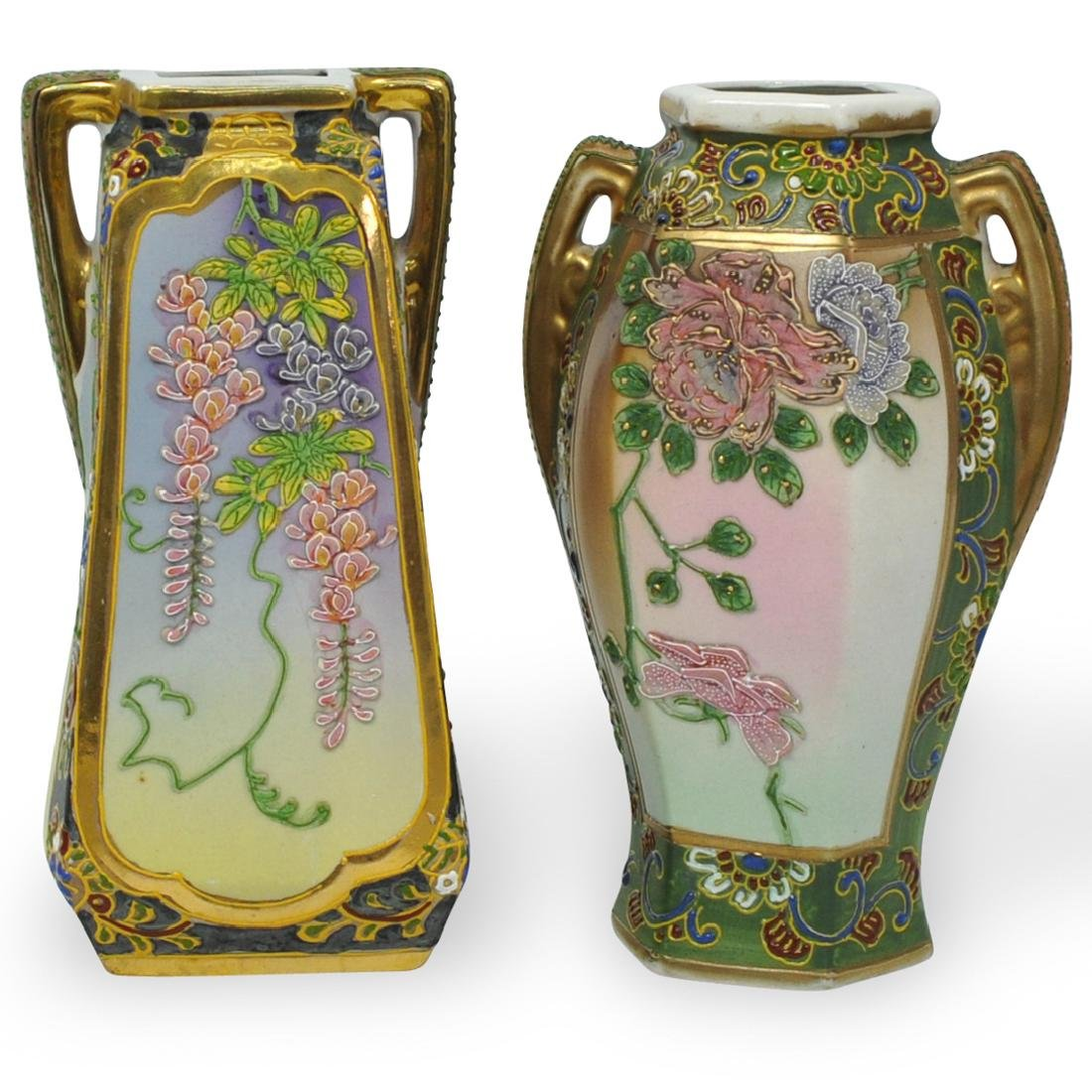(2 Pc) Japanese Nippon Hand Painted Porcelain Vases