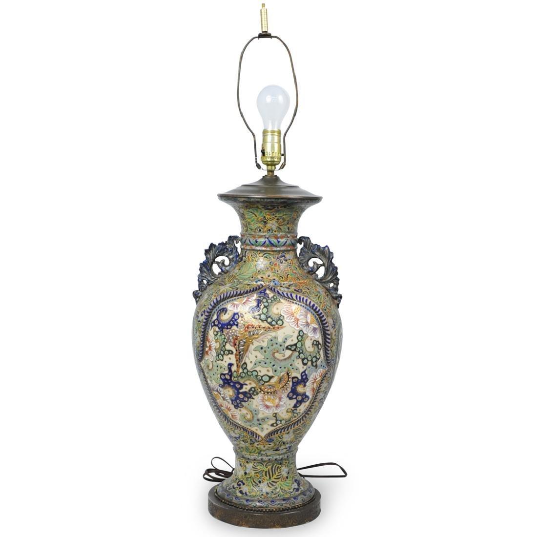 Japanese Satsuma Pottery Lamp
