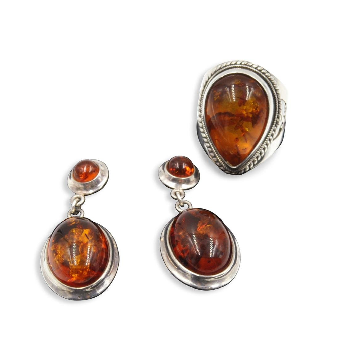 (3 Pc) Vintage Amber and Sterling Set