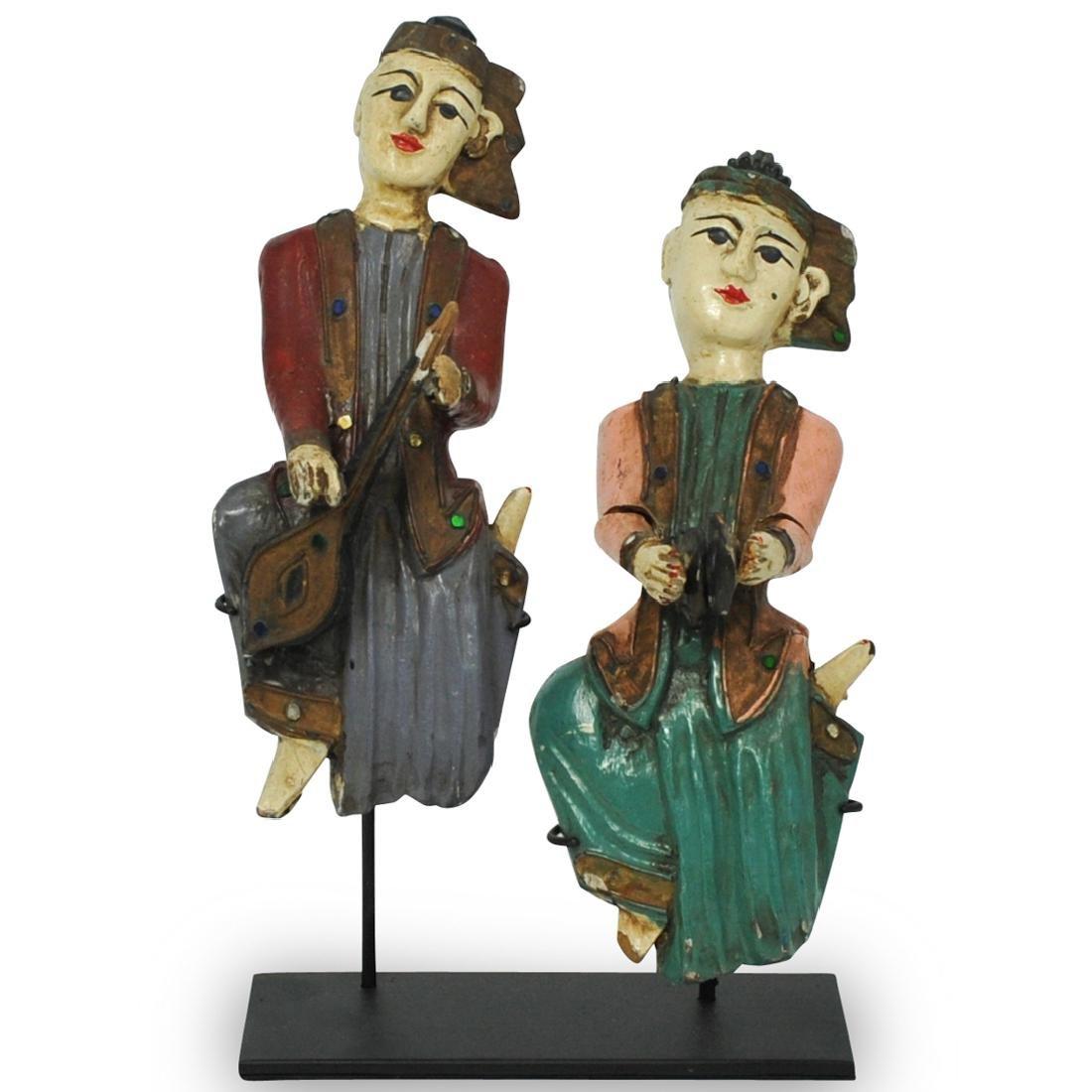 (2 Pc) Burmese Wood Carved Musician Figures