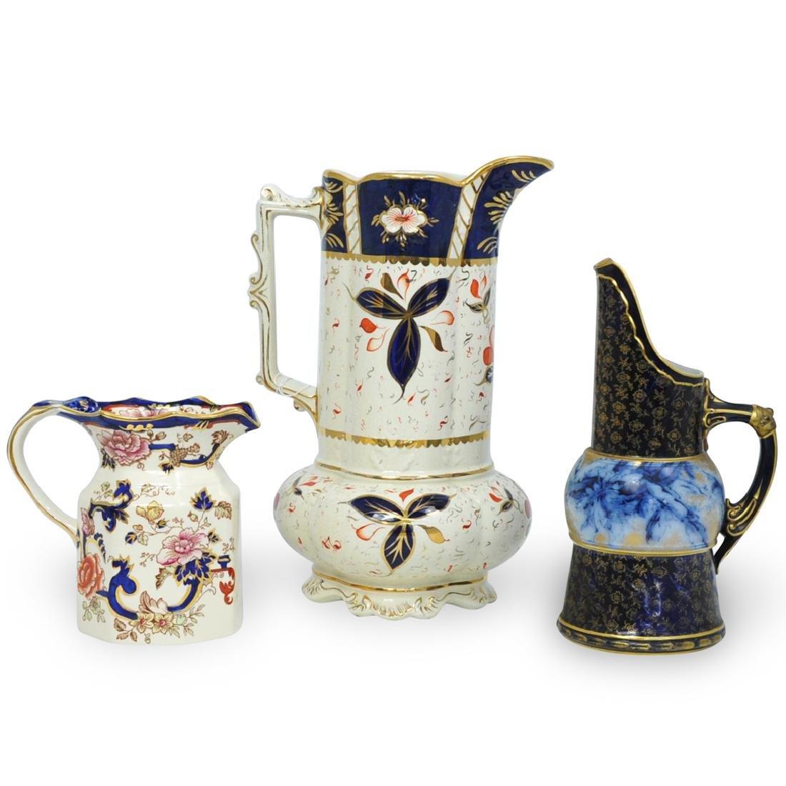 (3 Pc) English Porcelain Pitchers