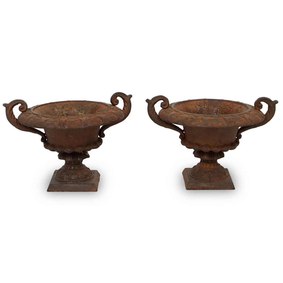Pair of Iron Urn Planters