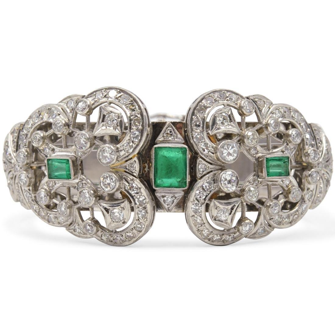 Vintage 18K Emerald and Diamond Functional Bracelet