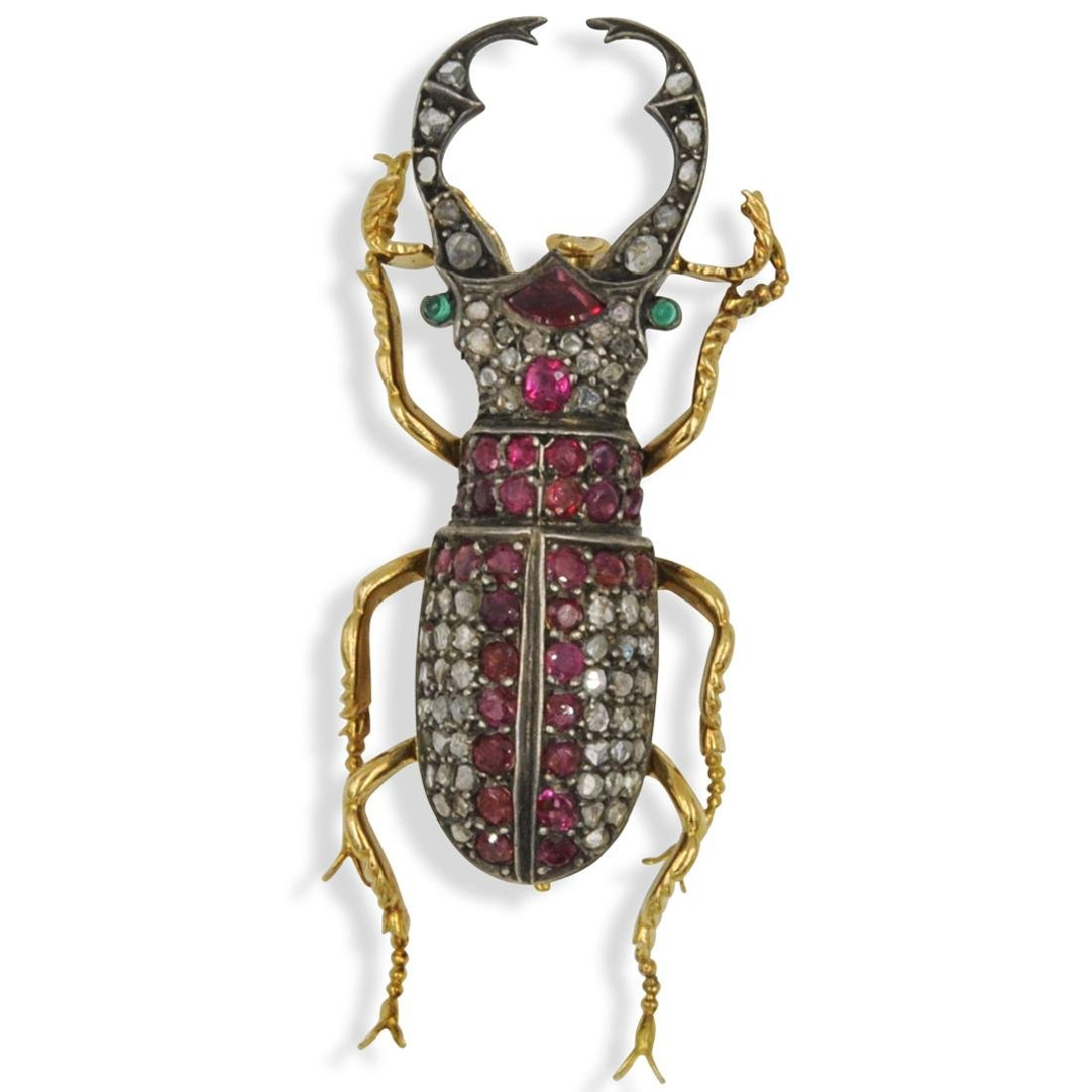Gold, Diamond and Ruby Beetle Brooch