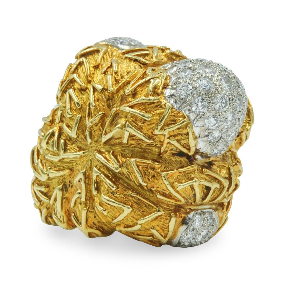 Large 18k Gold and Diamond Ladies Ring