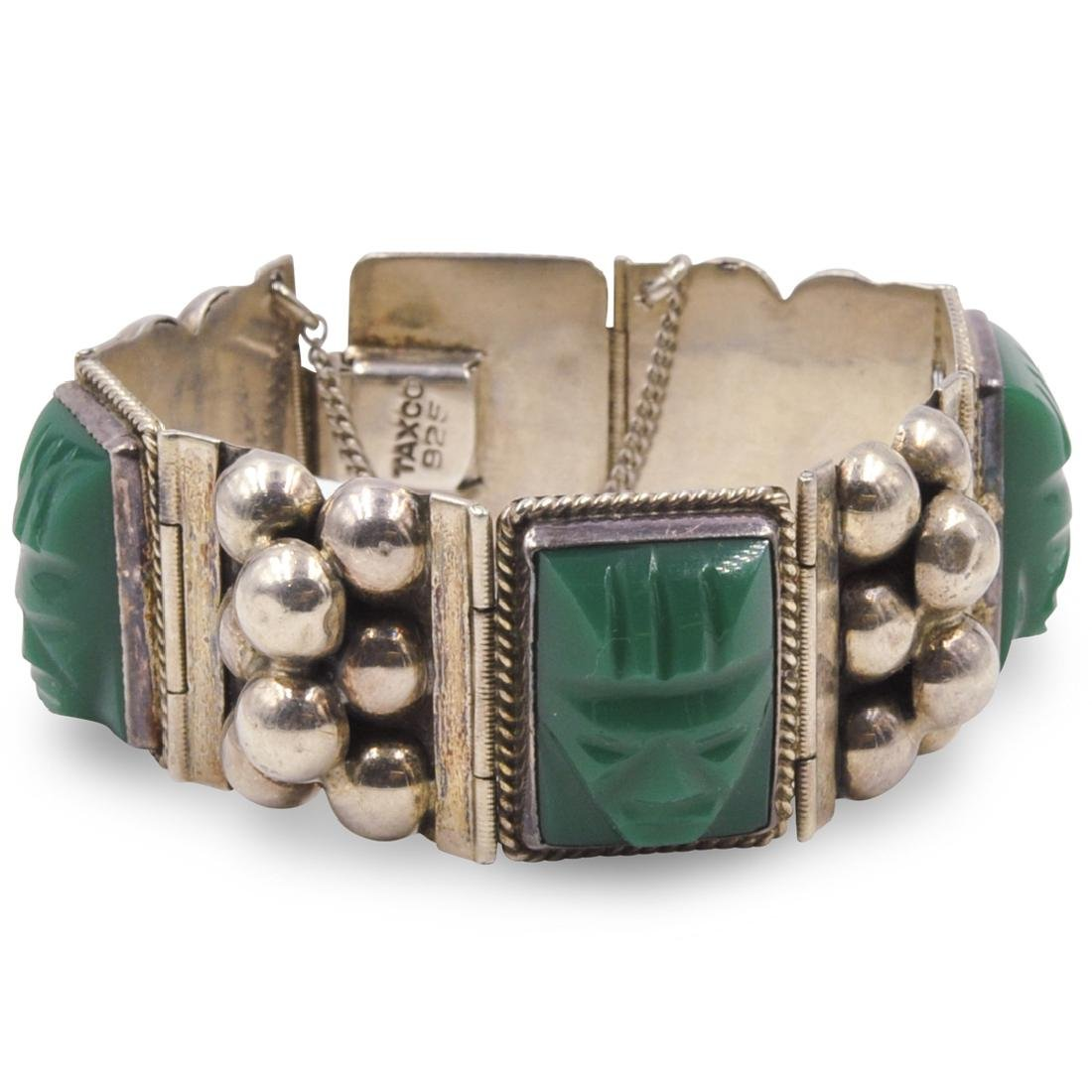 Mexican Sterling and Green Onyx Bracelet