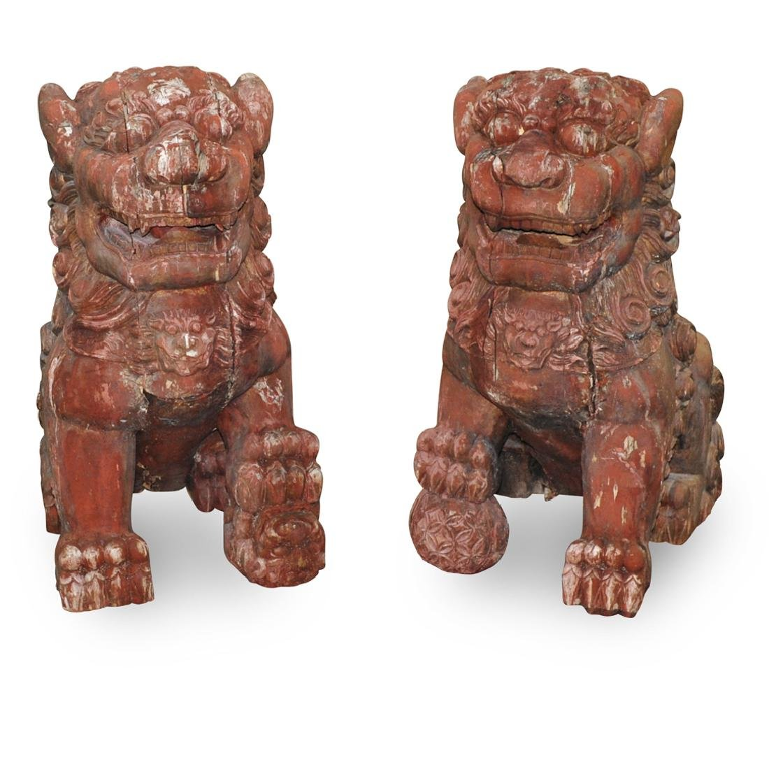 Palace Sized Chinese Carved Wood Foo Dogs