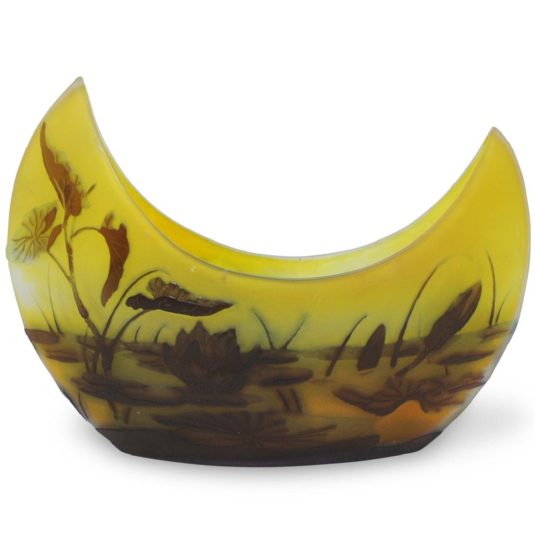 Emile Galle (French, 1846-1904) Cameo Glass Boat Vase