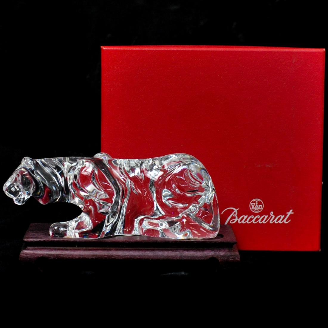 Baccarat Crystal Tiger on Stand