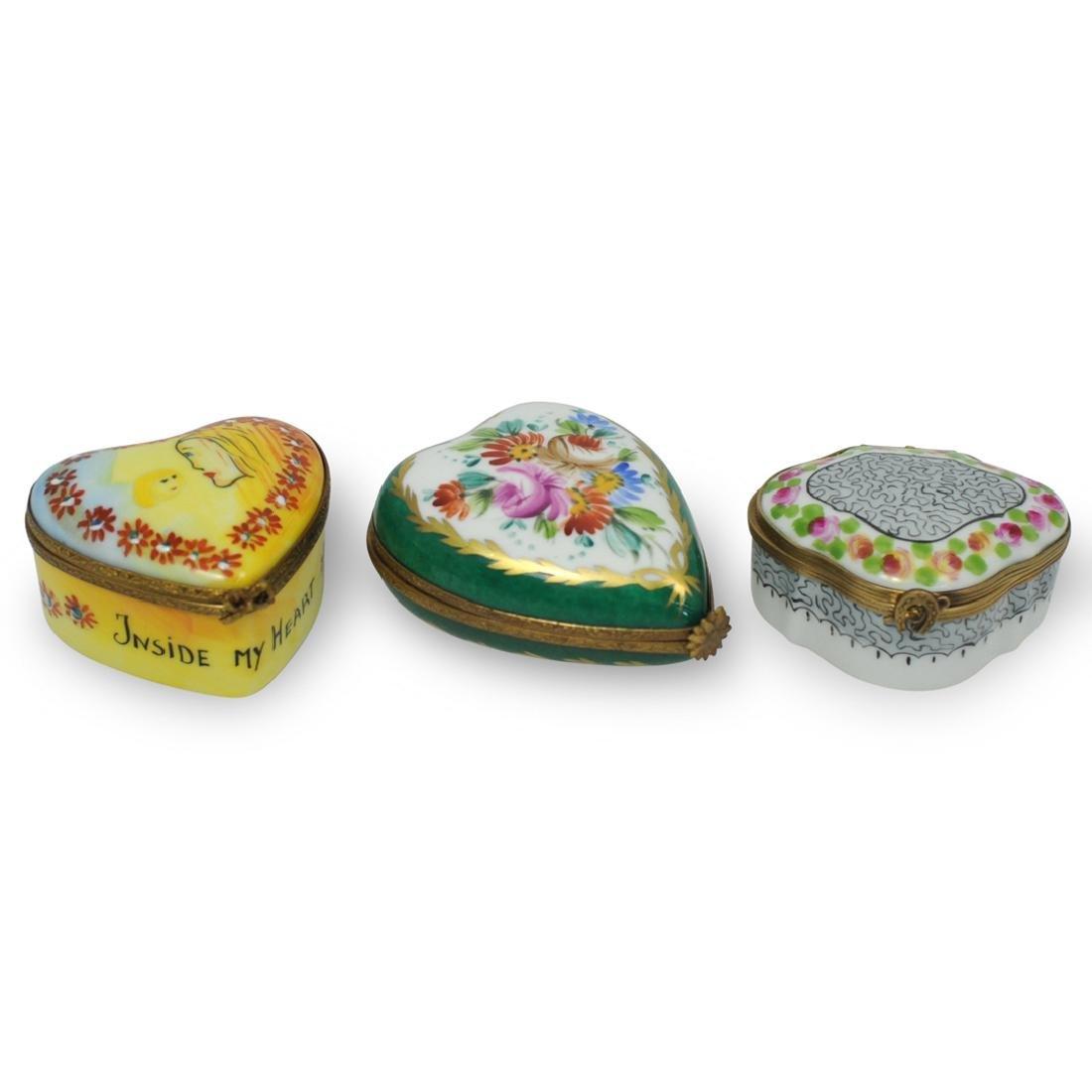 (3 Pc) Limoges Porcelain Trinket Boxes