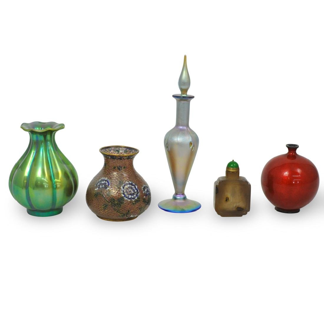 (5 Pc) Continental Porcelain and Glass Table Articles