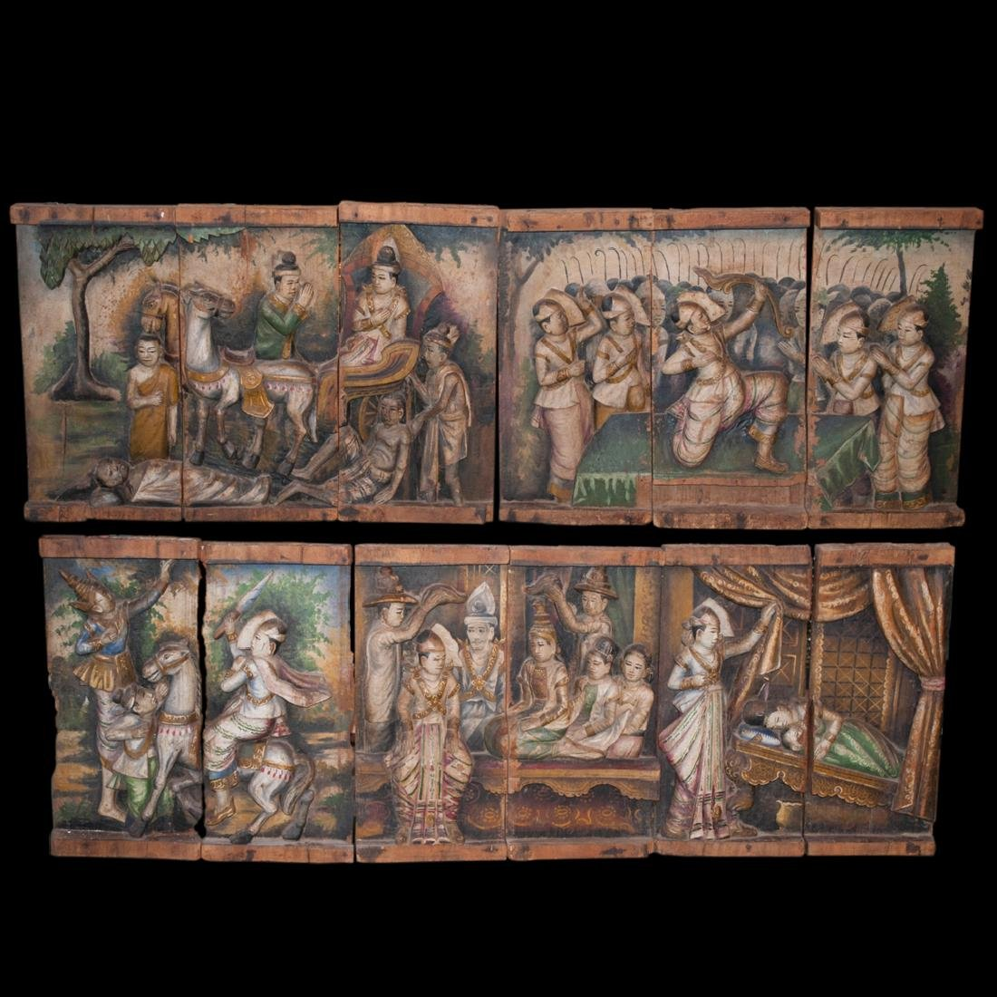 Antique Carved Wood Plaques of Buddha's Life