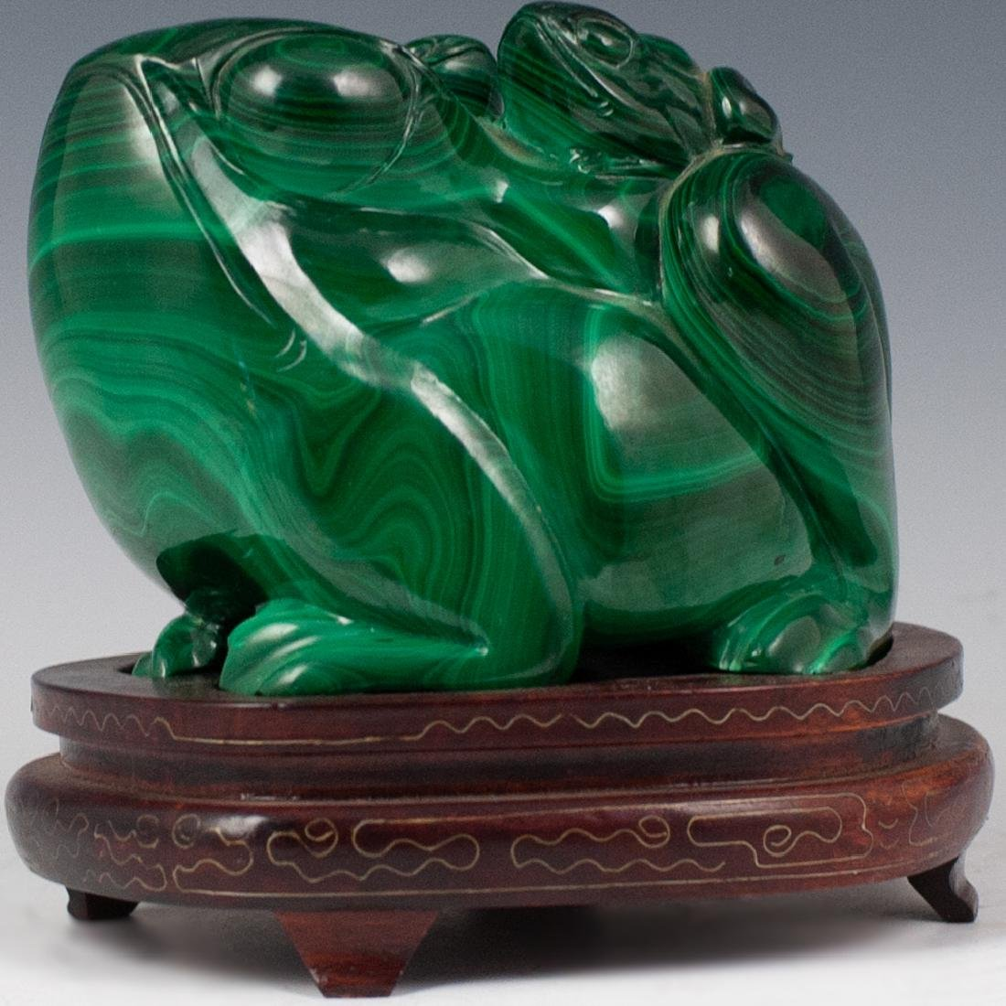 Large Chinese Carved Malachite Toad