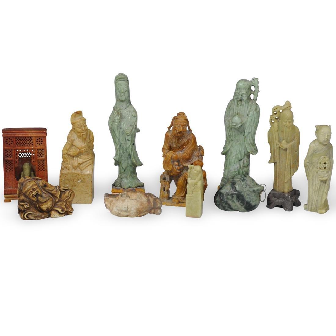 (11 Pc) Chinese Soapstone Figurines