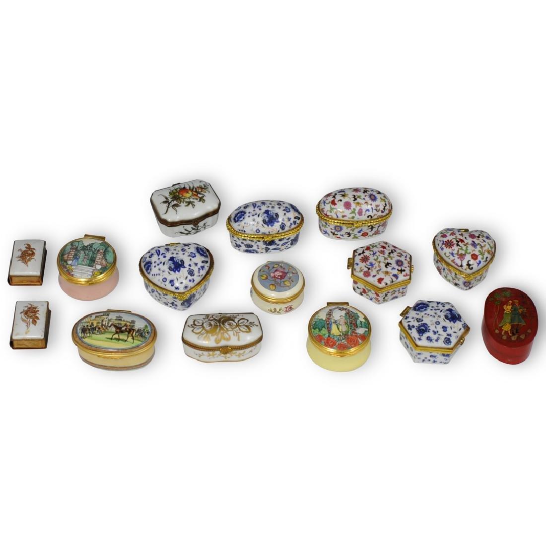 (15 Pc) Continental Porcelain and Enamel Trinket Boxes