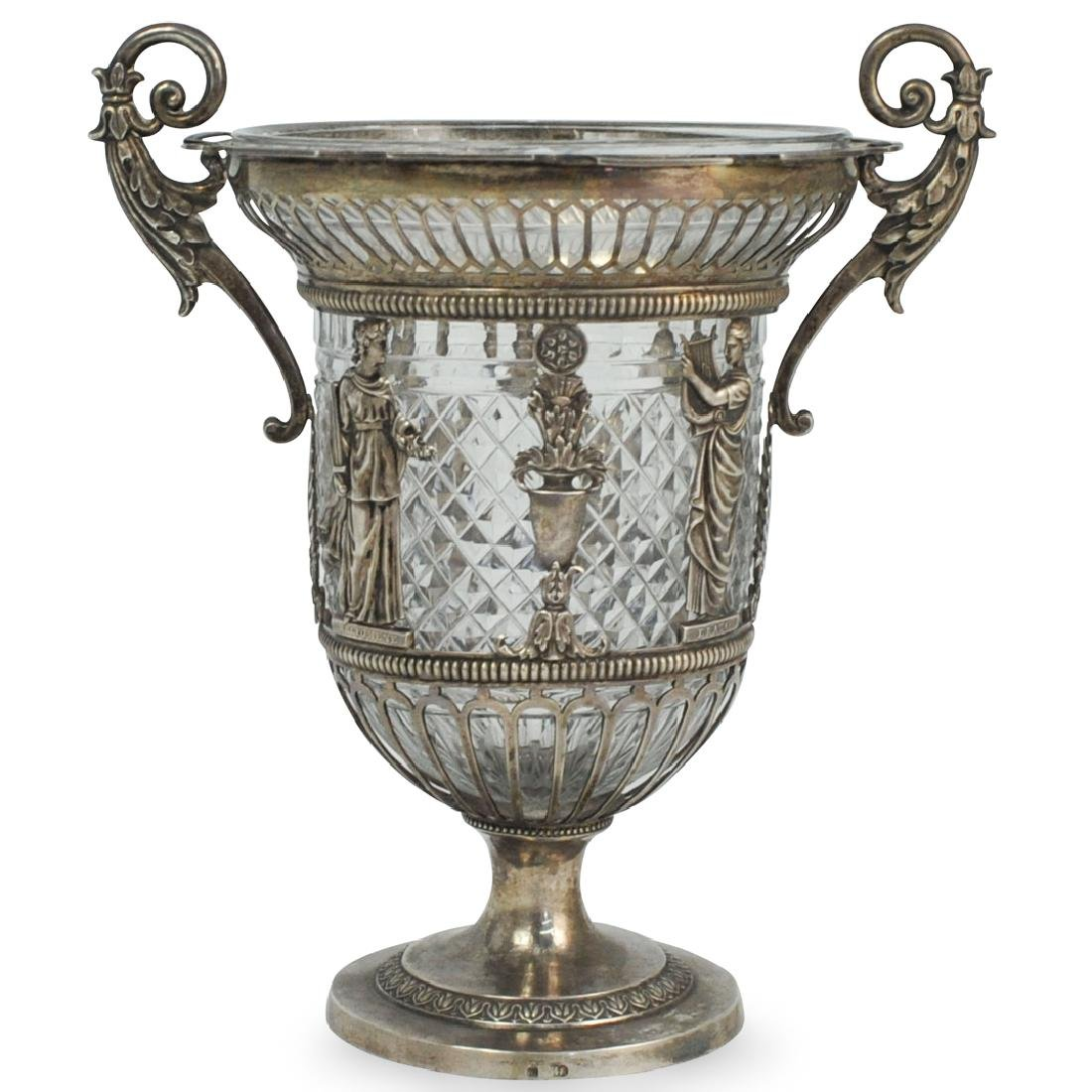 Russian Silver and Cut Crystal Vase