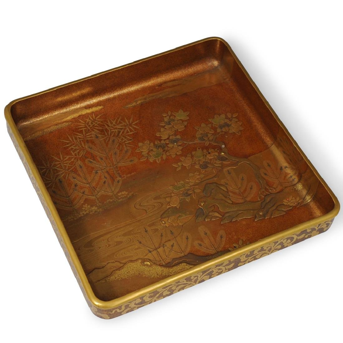 Japanese Meiji Gold Lacquer Tray