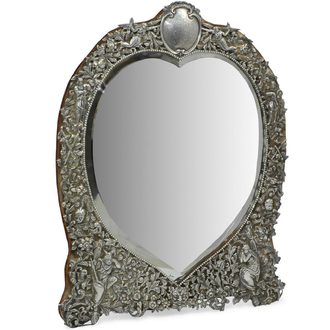 Large Sterling Silver Vanity Mirror