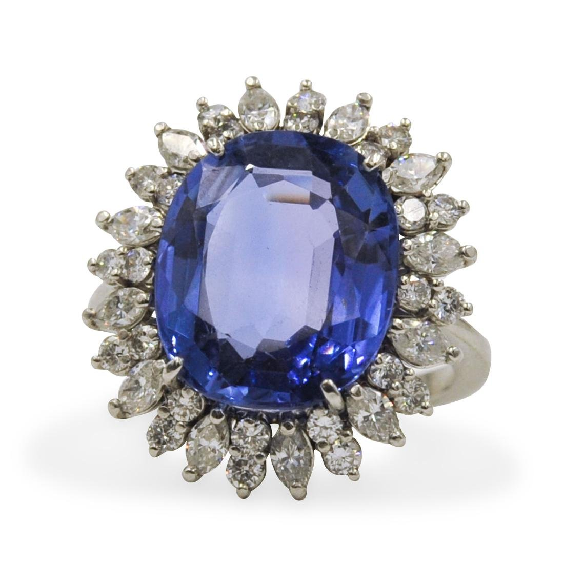 8.49ct Natural Sapphire and Diamond Ring