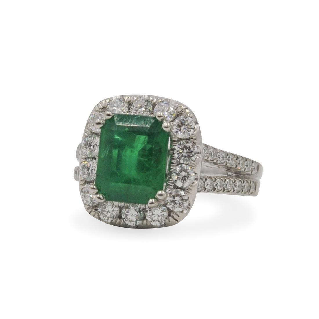GIA Cert. Emerald and Platinum Ring