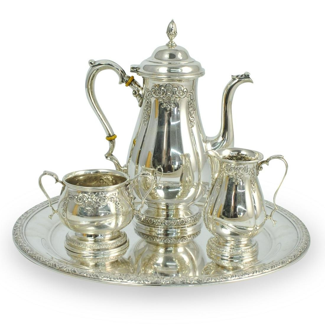 """(4 Pc) International """"Prelude"""" Hand Chased Sterling Set"""