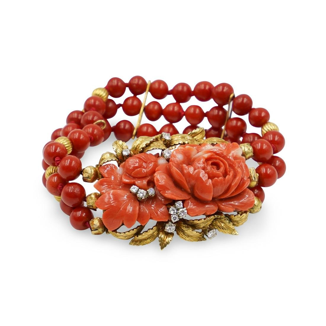 Vintage Coral, 14k Gold and Diamond Bracelet