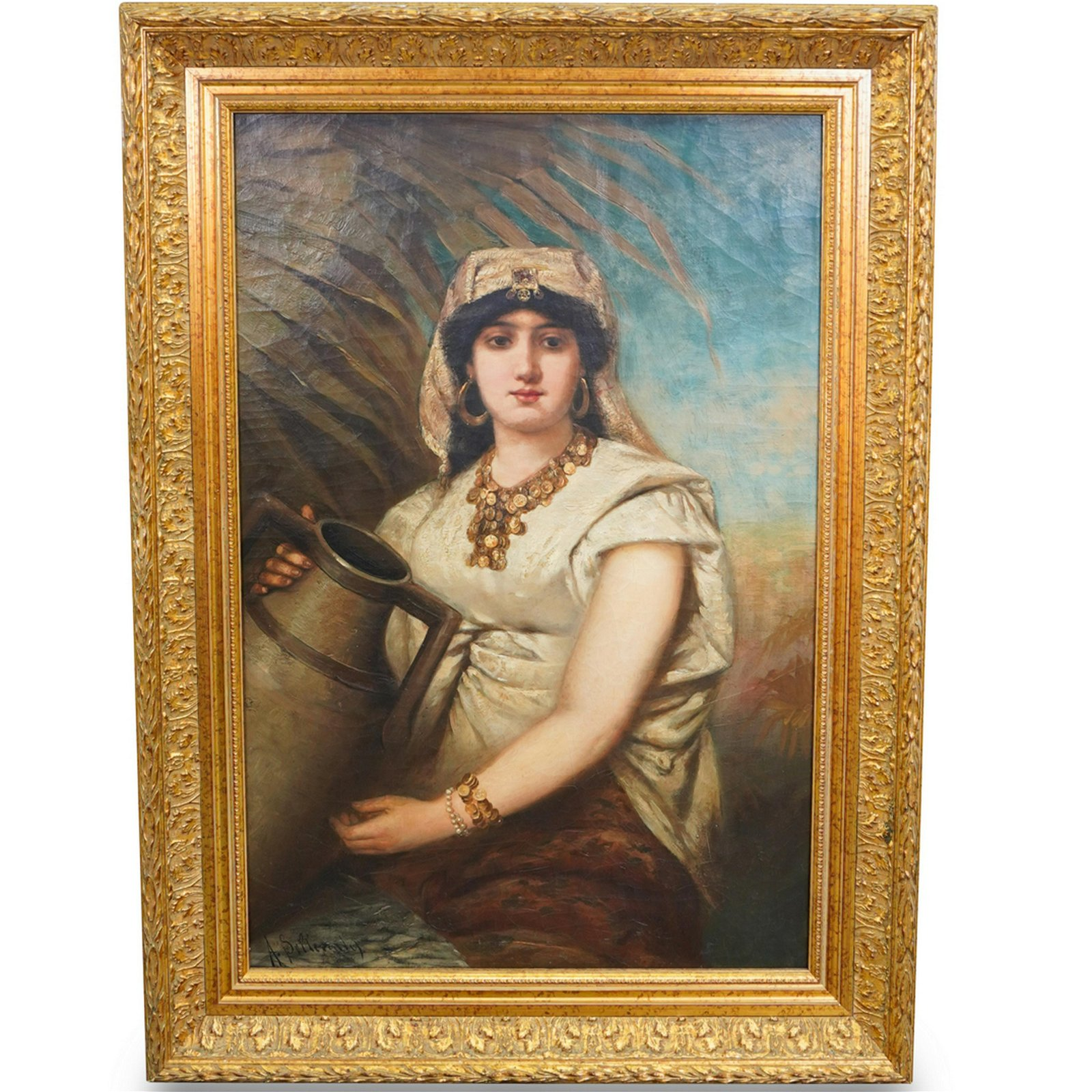 19th Century Oil Painting of Oriental Woman