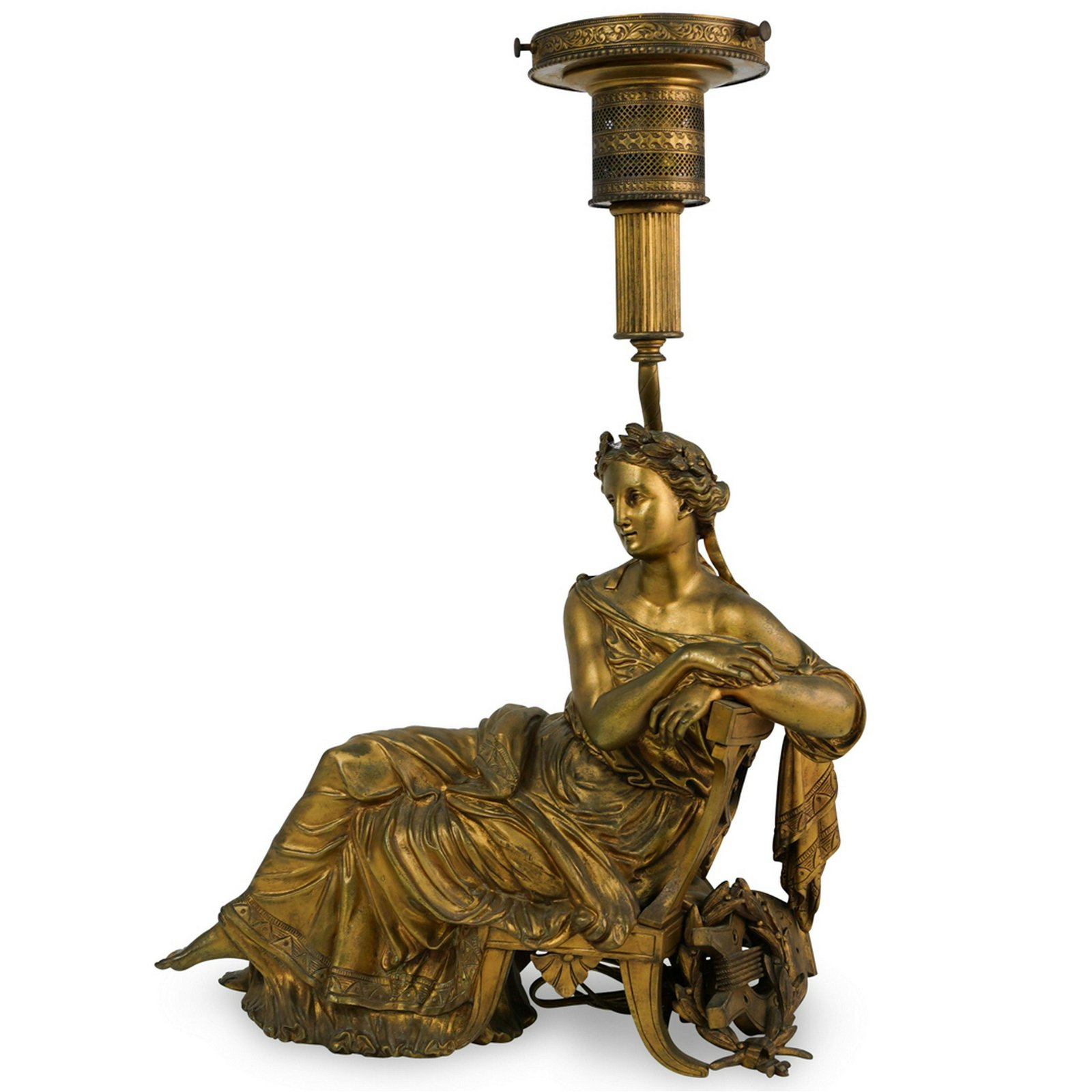 Houlet Signed Bronze Figural Table Lamp