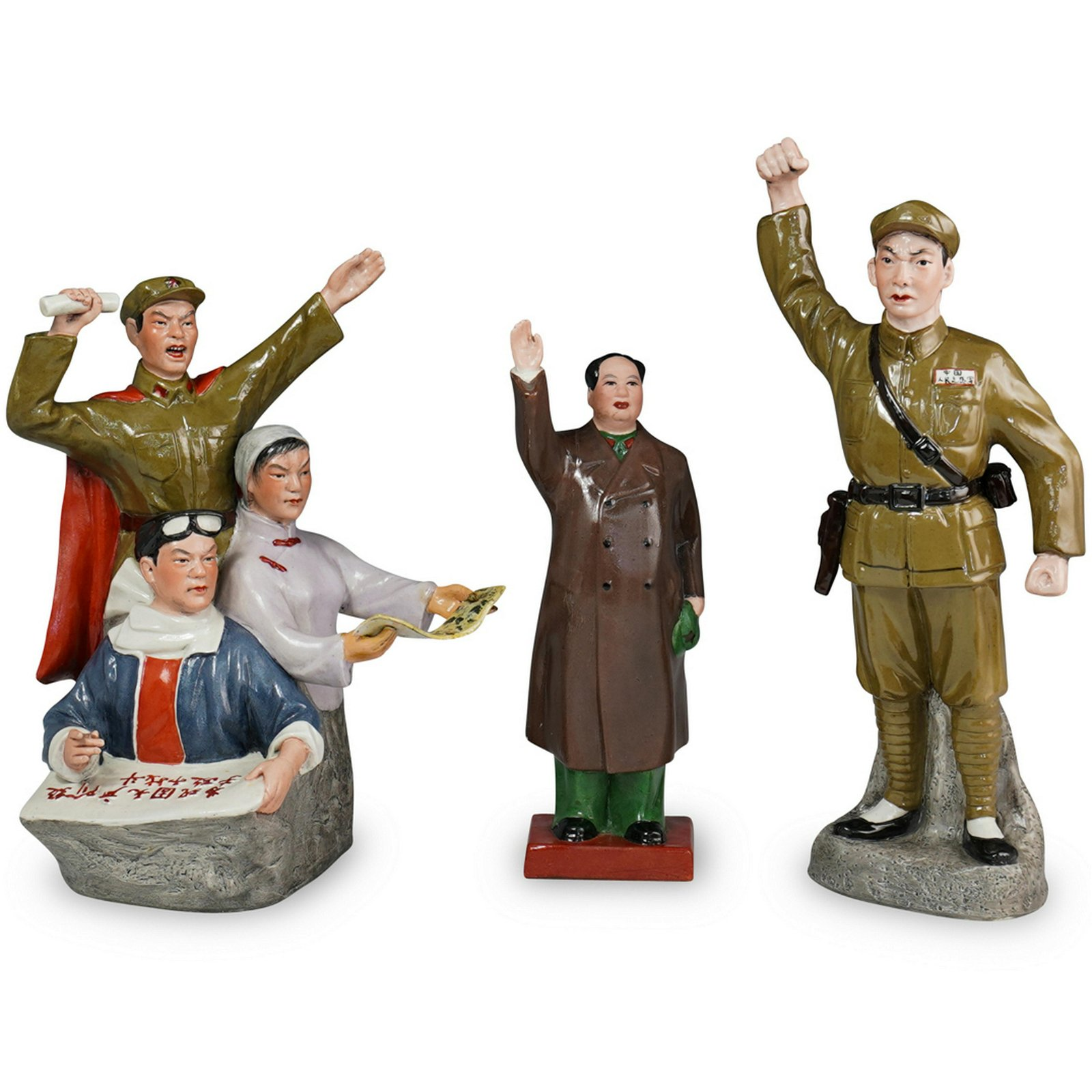 (3 Pc) Chinese Culture Revolution Porcelain Figurines