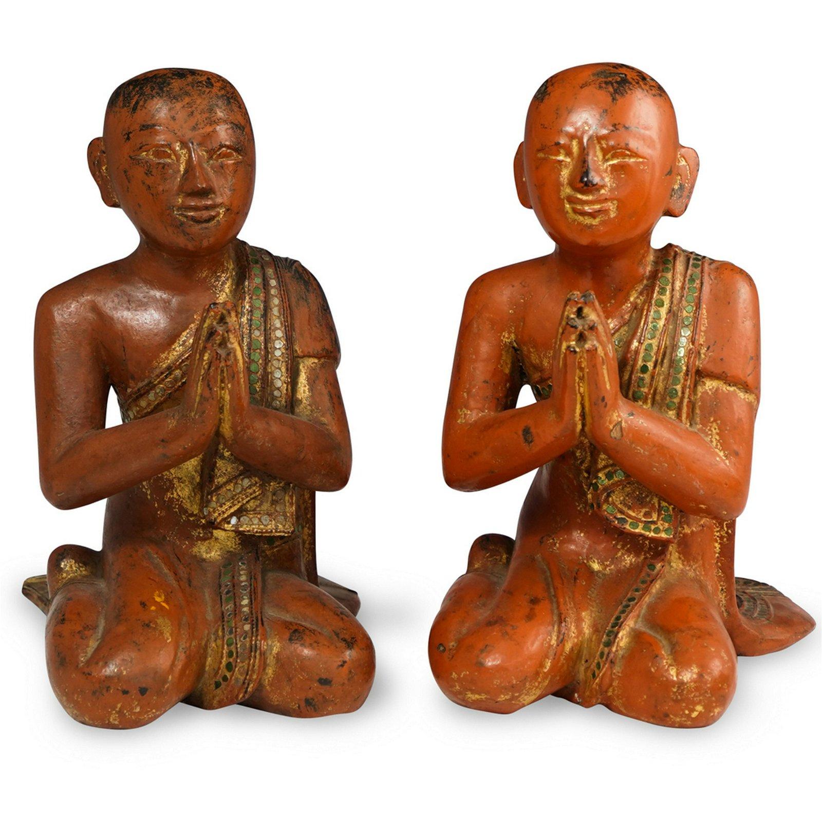 Pair of Burmese Wood Carved Kneeling Monks